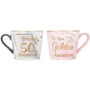 Beautiful 50th Anniversary Grey and Pink Marble Ceramic Mugs with Golden Trim