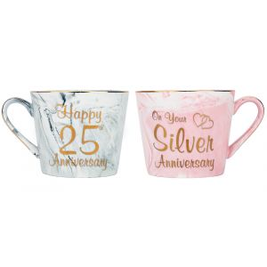 Beautiful 25th Anniversary Grey and Pink Marble Ceramic Mugs with Golden Trim