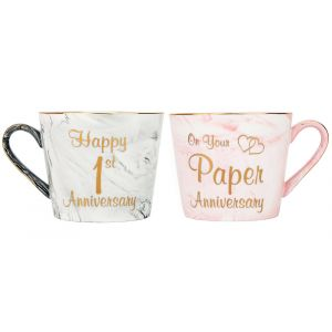 Beautiful 1st Anniversary Grey and Pink Marble Ceramic Mugs with Golden Trim
