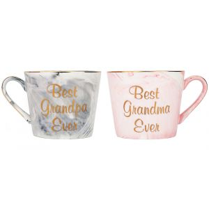 Best Grandma and Grandpa Ever Grey and Pink Marble Ceramic Mugs with Golden Trim