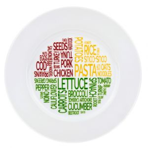 Healthy Eating Ceramic Dinner Plate with Colourful Examples of Healthy Foods
