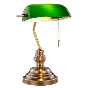 Unique Traditional Antique Brass Bankers Lamp with Green Glass and Pull Switch