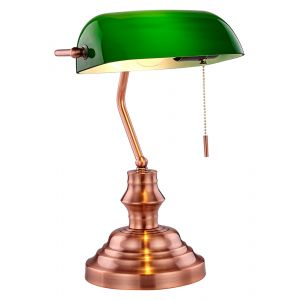 Unique Traditional Antique Copper Bankers Lamp with Green Glass and Pull Switch