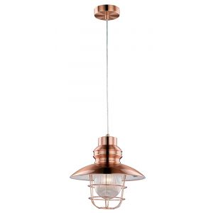 Industrial Style Fisherman Pendant Ceiling Light in Antique Copper with Glass