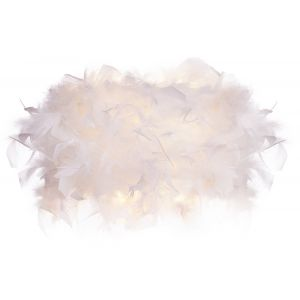 Eye-Catching and Modern Real White Feather Decorated Flush Wall Light Fixture
