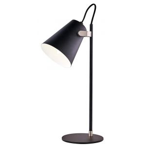 Designer Modern Black Adjustable Desk Lamp with Nickel Trim and Fabric Cable