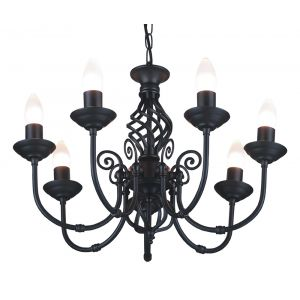 Traditional Classic Knot Twist 7 Arm Matt Black Ceiling Light Fitting