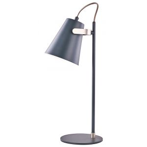 Designer Modern Grey Adjustable Desk Lamp with Nickel Trim and Fabric Cable