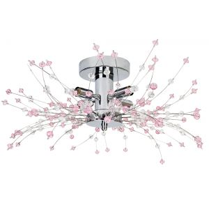 Modern Chrome Ceiling Light with Clear and Pink Acrylic Beads and Metal Wires
