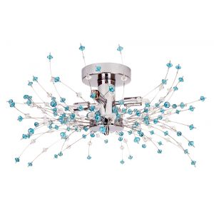 Modern Chrome Ceiling Light with Clear and Teal Acrylic Beads and Metal Wires