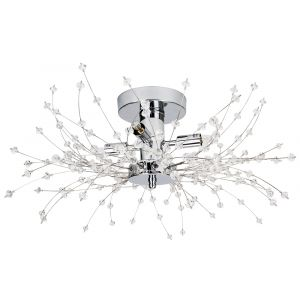 Contemporary Chrome Ceiling Light with Transparent Acrylic Beads and Metal Wires