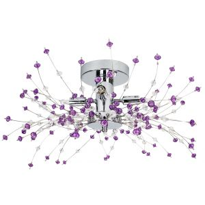 Modern Chrome Ceiling Light with Clear and Purple Acrylic Beads and Metal Wires