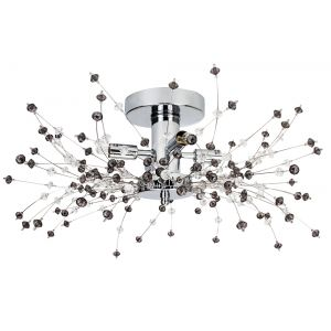 Modern Chrome Ceiling Light with Clear and Smoked Acrylic Beads and Metal Wires