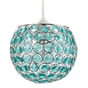 Modern Round Globe Easy Fit Pendant Shade with Small Teal Acrylic Bead Jewels