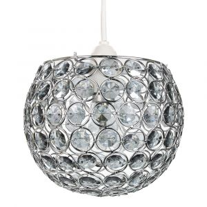 Modern Round Globe Easy Fit Pendant Shade with Small Smoked Acrylic Bead Jewels