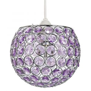 Modern Round Globe Easy Fit Pendant Shade with Small Purple Acrylic Bead Jewels