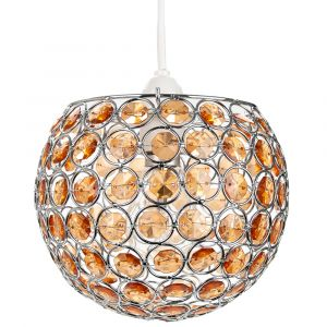 Modern Round Globe Easy Fit Pendant Shade with Small Amber Acrylic Bead Jewels