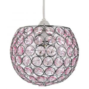 Modern Round Globe Easy Fit Pendant Shade with Small Pink Acrylic Bead Jewels