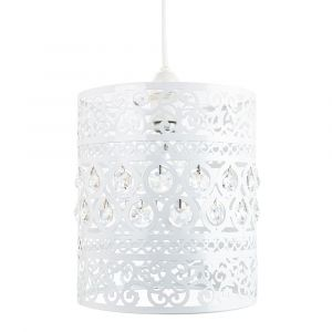 Traditional and Ornate White Easy Fit Pendant Shade with Clear Acrylic Droplets