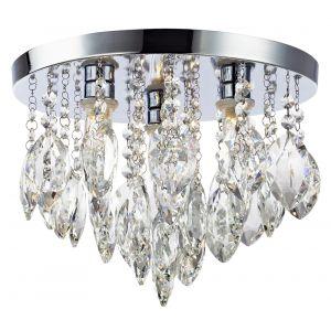 Modern Crystal Glass LED Bathroom Ceiling Light with Circular Chrome Plate