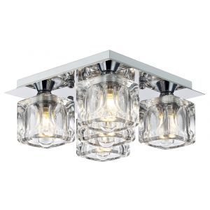 Modern Ice Cube Glass LED Bathroom Ceiling Light with Square Chrome Plate