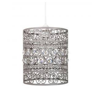 Traditional and Ornate Grey Easy Fit Pendant Shade with Clear Acrylic Droplets