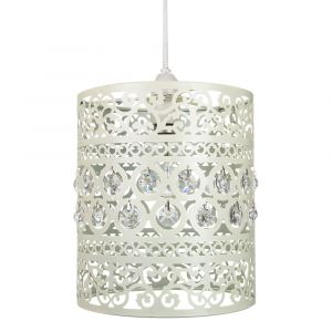 Traditional and Ornate Cream Easy Fit Pendant Shade with Clear Acrylic Droplets