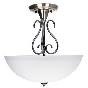 Traditional Ornate Semi Flush Ceiling Light in Satin Nickel with Glass Shade