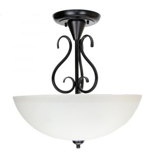 Traditional Ornate Semi Flush Ceiling Light in Matt Black with White Glass Shade