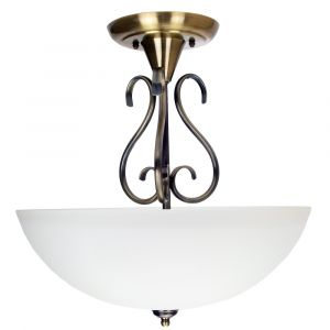Traditional Ornate Semi Flush Ceiling Light in Antique Brass with Glass Shade