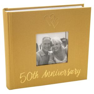 Lovely Golden 50th Wedding Anniversary Photo Album with Double Heart Decoration