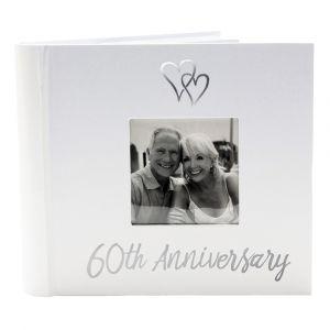 Lovely Diamond 60th Wedding Anniversary Photo Album with Double Heart Decoration