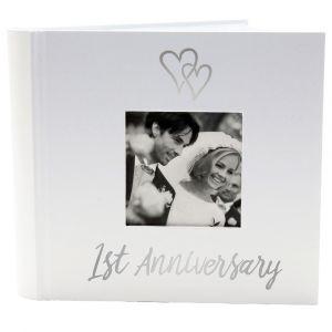 Beautiful 1st Wedding Anniversary Photo Album with Double Heart Decoration