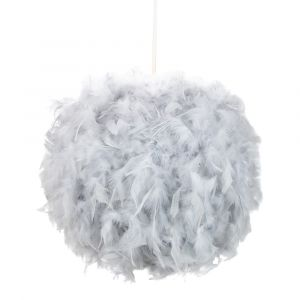 Eye-Catching and Modern Small Grey Feather Decorated Pendant Lighting Shade