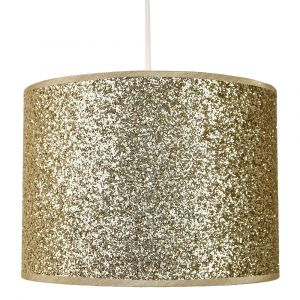 Modern and Designer Bright Gold Glitter Fabric Pendant/Lamp Shade 25cm Wide