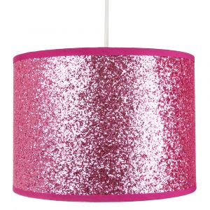 Modern and Designer Bright PIink Glitter Fabric Pendant/Lamp Shade 25cm Wide