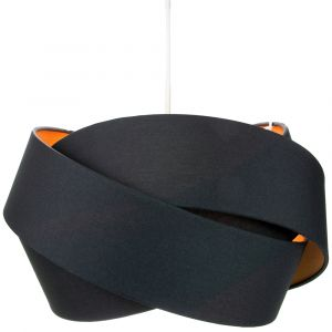 Contemporary Triple Ring Black Cotton Fabric Pendant Shade with Rose Gold Inner