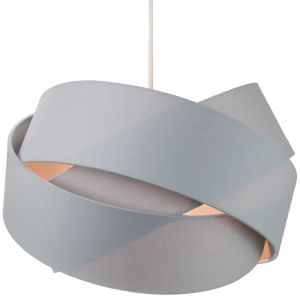 Contemporary Triple Ring Grey Cotton Fabric Pendant Shade with Grey Satin Inner
