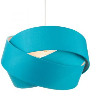 Designer Triple Ring Teal Cotton Fabric Pendant Shade with Silver Satin Inner