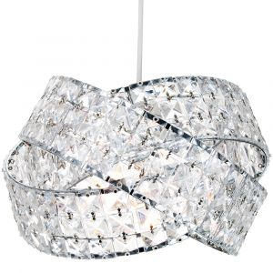 Contemporary Triple Ring Chrome Plated Pendant Shade with Clear Acrylic Beads