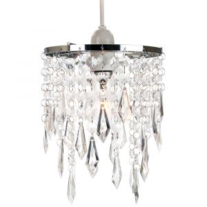 Modern Waterfall Design Pendant Shade with Clear Acrylic Droplets and Beads
