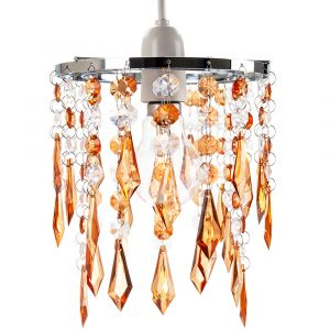 Modern Waterfall Design Pendant Shade with Clear/Amber Acrylic Drops and Beads