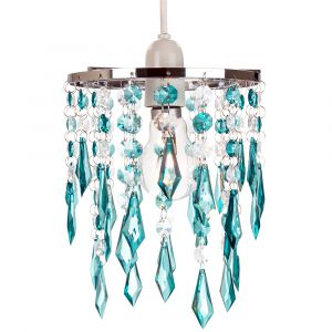 Modern Waterfall Design Pendant Shade with Clear/Teal Acrylic Drops and Beads
