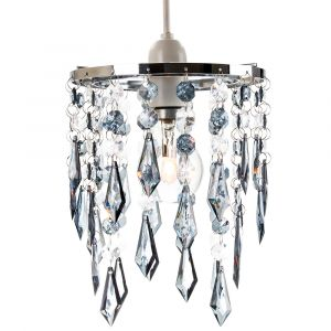 Modern Waterfall Design Pendant Shade with Clear/Smoked Acrylic Drops and Beads