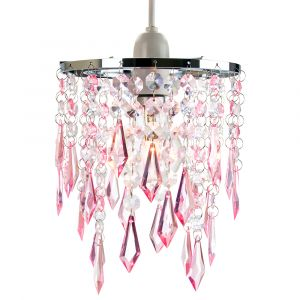 Modern Waterfall Design Pendant Shade with Clear/Pink Acrylic Drops and Beads