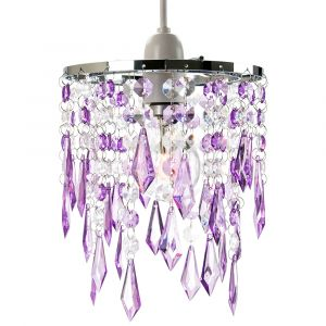 Modern Waterfall Design Pendant Shade with Clear/Purple Acrylic Drops and Beads