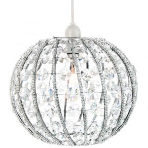 Chic Circular Ornate Easy Fit Pendant Shade with Clear Acrylic Beads and Strings
