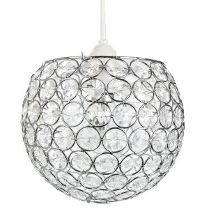 Modern Round Globe Easy Fit Pendant Shade with Small Transparent Acrylic Beads