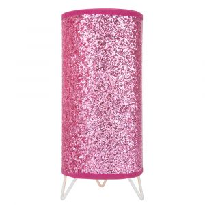 Modern and Novelty Pink Glitter Table Lamp with Satin Nickel Base and Switch