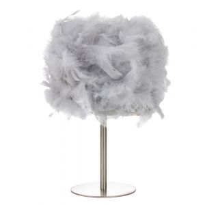 Modern and Chic Real Grey Feather Table Lamp with Satin Nickel Base and Switch